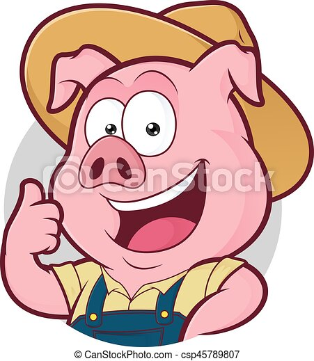 Pig farmer giving thumbs up in round frame. Clipart picture of a pig ...