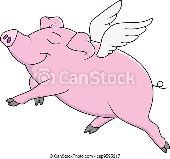 Pig Flying Cartoon  - csp9595317