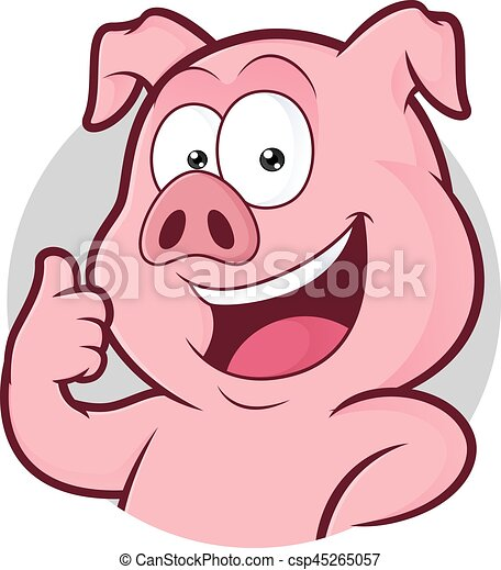 Pig giving thumbs up in round frame. Clipart picture of a pig ...