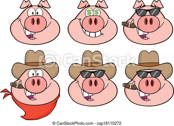 Pig Head 3 Collection Set - csp18110272
