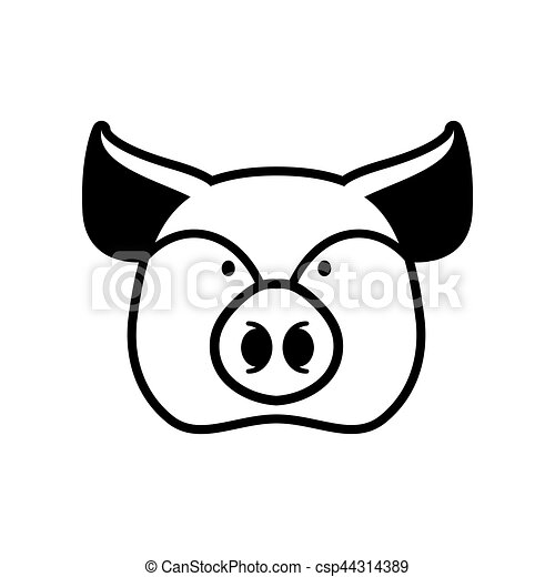 Pig head sign. piggy snout symbol. Farm animal - csp44314389