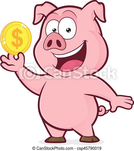 Pig holding gold coin - csp45790019
