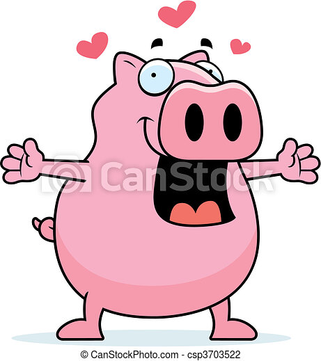 Pig Hug - csp3703522