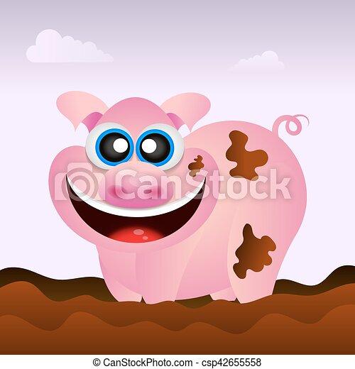 Pig illustration funny - csp42655558