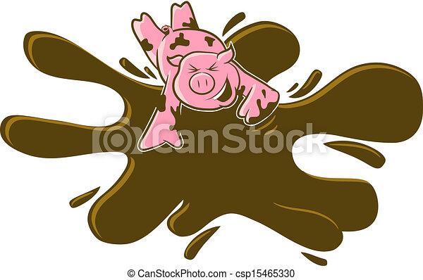 Pig in the Mud Cartoon - csp15465330