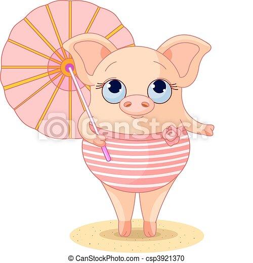 Pig on the beach - csp3921370