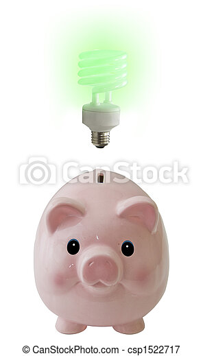 Pig on white with idea - csp1522717