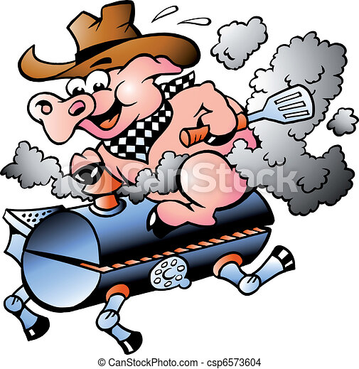 Pig riding on a BBQ barrel - csp6573604