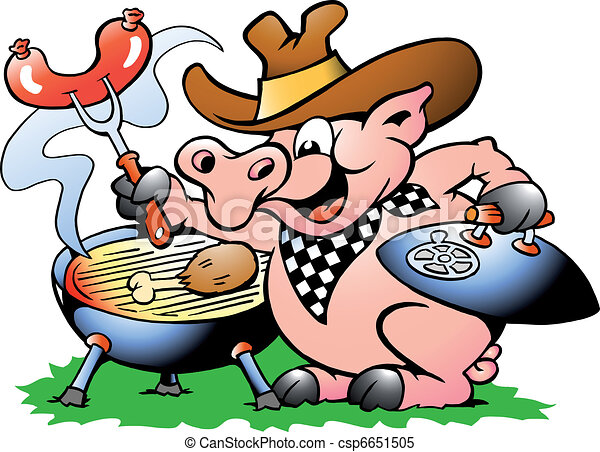 pig sitting and making bbq hand drawn vector illustration rh canstockphoto com bbq pictures clip art free images of bbq clipart