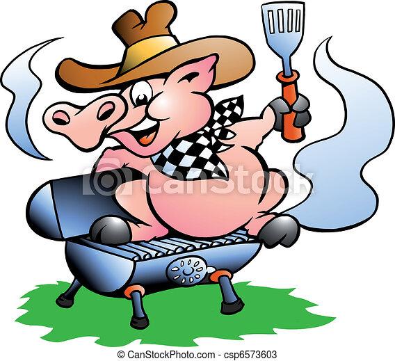 Pig sitting on a BBQ barrel  - csp6573603