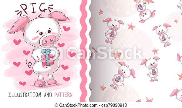 Pig with gift - seamless pattern - csp79030913