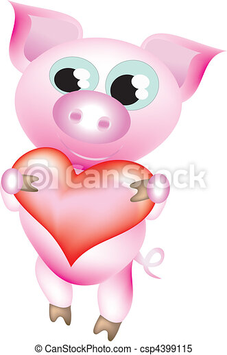 Pig With Heart Vector