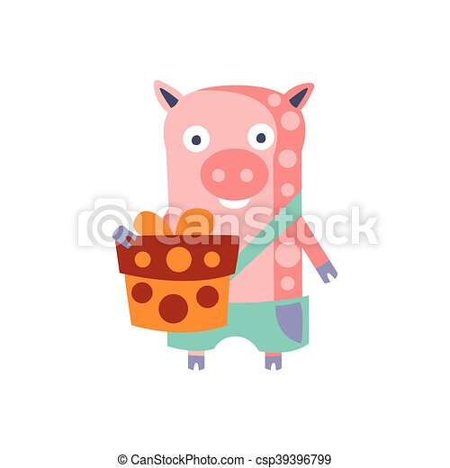 Pig With Party Attributes Girly Stylized Funky Sticker - csp39396799