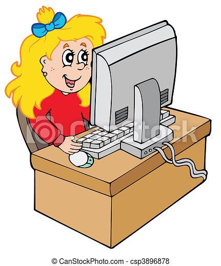 pige, computer, cartoon, arbejder - csp3896878