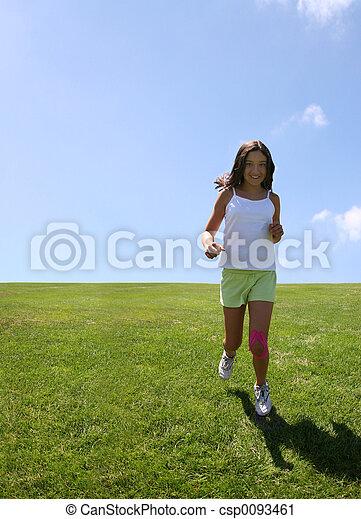 pige, græs, glade - csp0093461