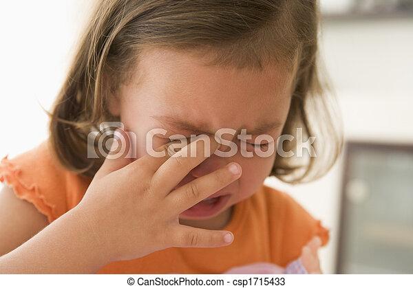 pige, indendørs, unge, græderi - csp1715433