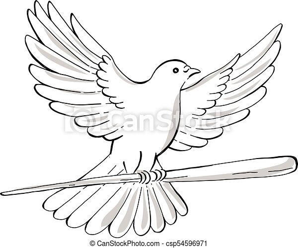 pigeon or dove flying with cane drawing csp54596971