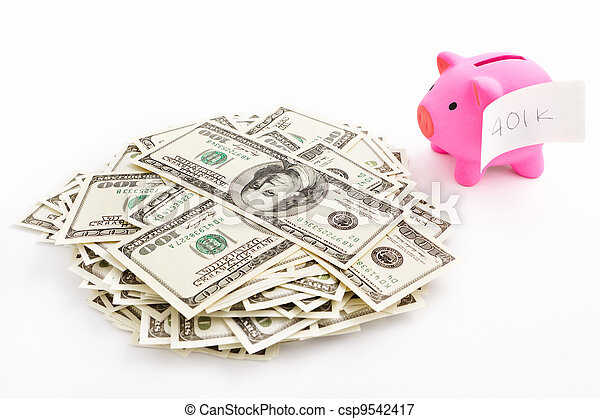 Piggy bank 401K and dollar - csp9542417