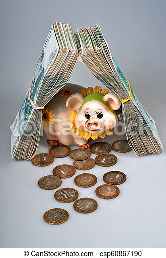 Piggy bank and bunch of russian rubles banknotes as real estate - csp60867190