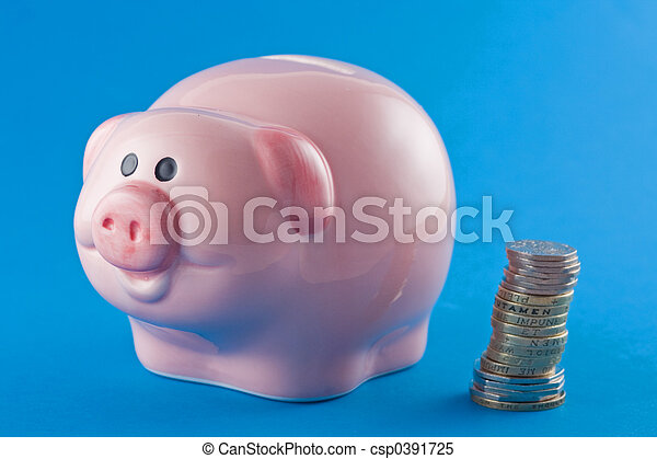 Piggy Bank and Coins - csp0391725