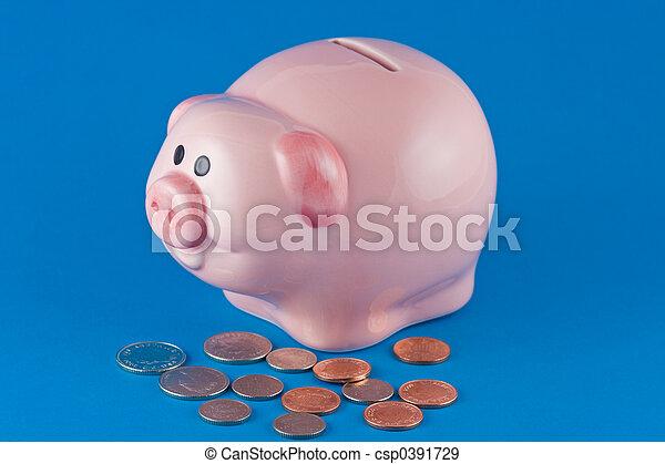 Piggy Bank and Coins - csp0391729