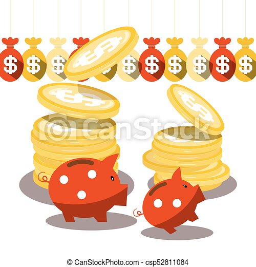 Piggy Bank and Dollar Coins with Money Bags Isolated on White Background. Vector. - csp52811084