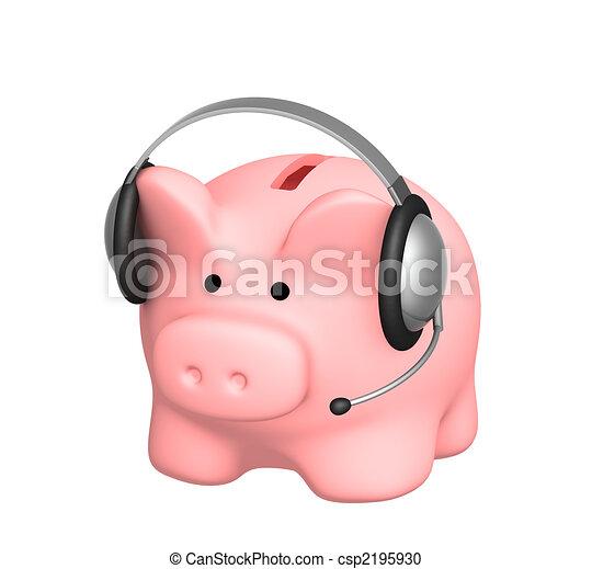 Piggy bank and headphone - csp2195930