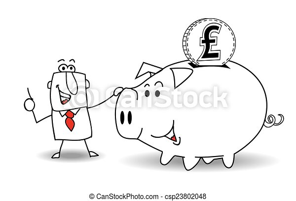 Piggy bank and pound sterling - csp23802048