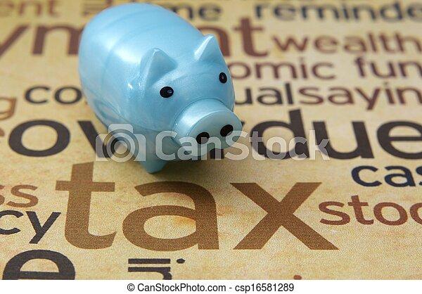 Piggy bank and tax concept - csp16581289