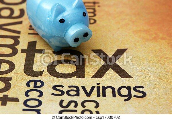 Piggy bank and tax concept - csp17030702