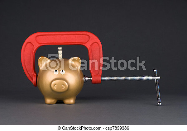Piggy bank being squeezed - csp7839386