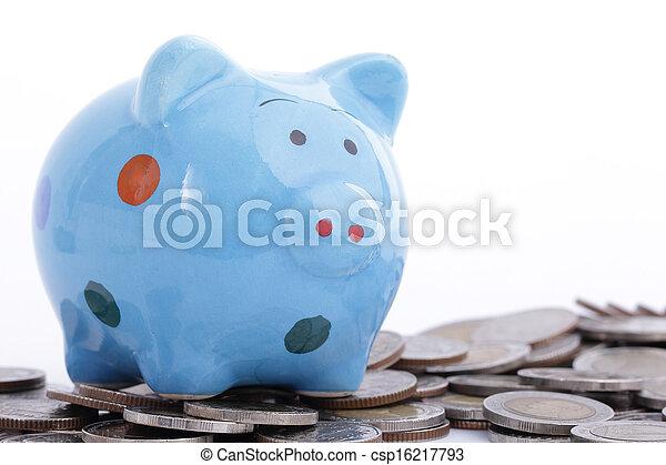 piggy bank , blauwe  - csp16217793