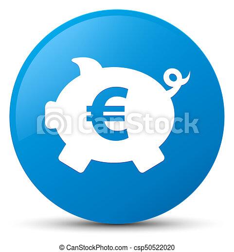 Piggy bank euro sign icon cyan blue round button - csp50522020