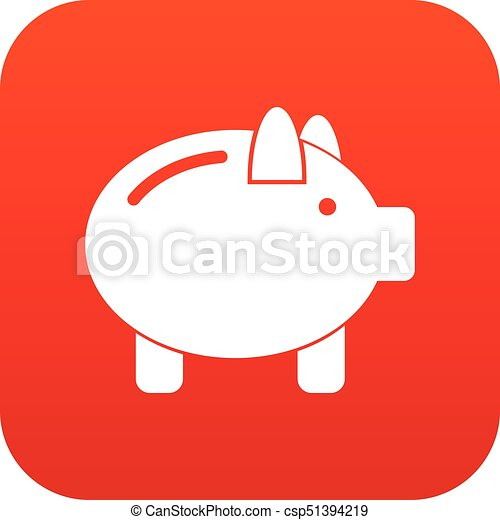 piggy bank icon digital red for any design isolated on white rh canstockphoto ie Bank Check Clip Art House Clip Art Bank