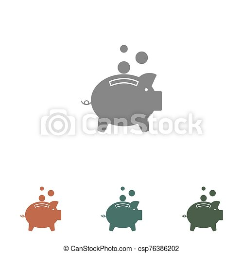 piggy bank icon isolated on white background - csp76386202