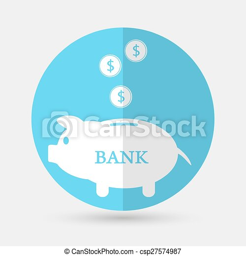 Piggy bank icon on a white background - csp27574987