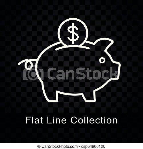 piggy bank icon on checkered background - csp54980120
