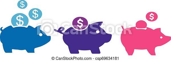 piggy bank icon on white background - csp69634181