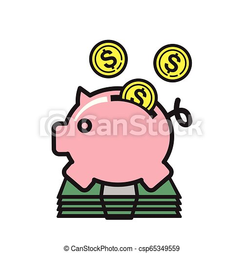 Piggy bank icon on white background for graphic and web design, Modern simple vector sign. Internet concept. Trendy symbol for website design web button or mobile app. - csp65349559