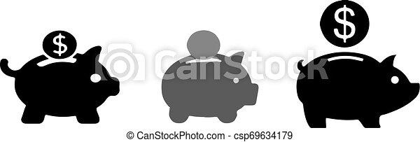 piggy bank icon on white background - csp69634179