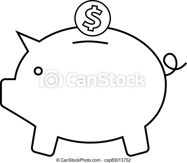 Piggy bank icon with a coin on a white background - csp83013752