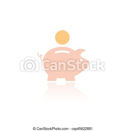 Piggy bank icon with color and reflection on a white background - csp45622881