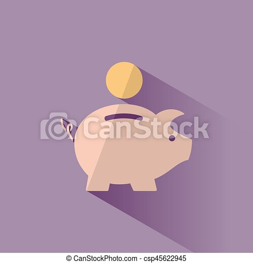 Piggy bank icon with shadow on a purple background - csp45622945
