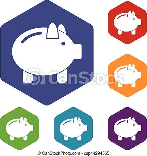Piggy bank icons set - csp44294565
