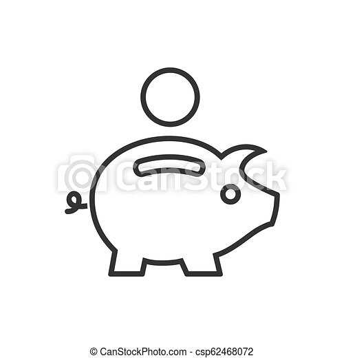 Piggy bank line icon on a white background - csp62468072