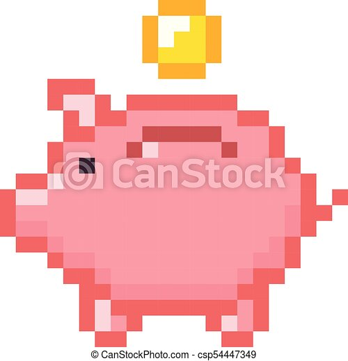 Retro Design Bank.Piggy Bank Money Pixel Art Cartoon Retro Game Style Set Piggy