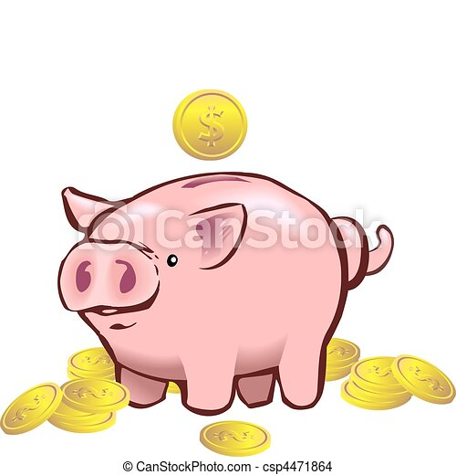 piggy bank moneybox a piggy bank with a coin going into it eps rh canstockphoto com piggy bank clipart free download free piggy bank clipart black and white