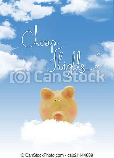 """Piggy bank on a cloud with """"cheap flights """"text and blue sky - csp21144639"""