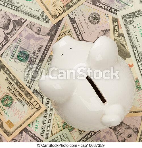 Piggy bank on dollar bills, focus on the pig - csp10687359