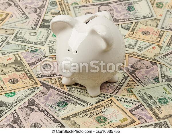 Piggy bank on dollar bills - csp10685755